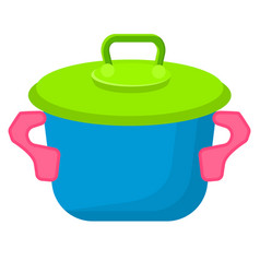 Blue toy saucepan with green top vector