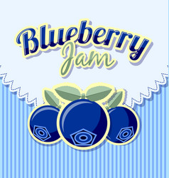 blueberry jam label with title on striped vector image