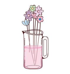 Bouquet flowers in mason jar vector