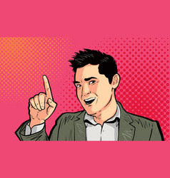 Businessman or funny guy pointing finger pop art vector