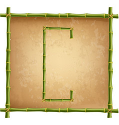 capital letter c made of green bamboo sticks on vector image