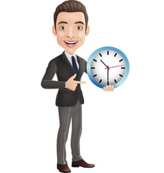cartoon happy young businessman holding vector image