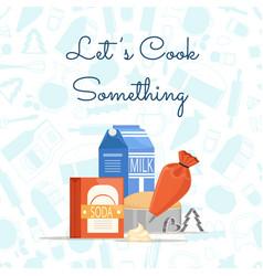 Cooking ingridients or groceries pile vector