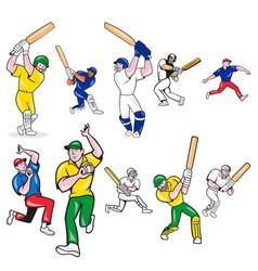 Cricket-player-cartoon-set vector