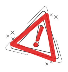 danger cartoon icon attention caution sign vector image