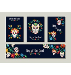 Day of the dead template set for cards or label vector image