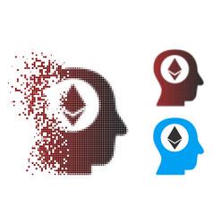 dissolving pixel halftone ethereum mind icon vector image