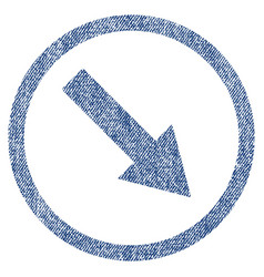 Down-right rounded arrow fabric textured icon vector