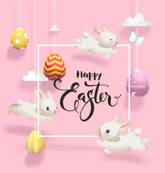 Easter eggs hanging on threads white rabbits vector