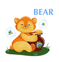 educational flashcard bear eating the honey and vector image