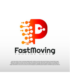Fast moving logo with initial p letter concept vector