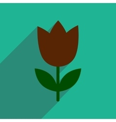 Flat icon with long shadow tulip blooms vector