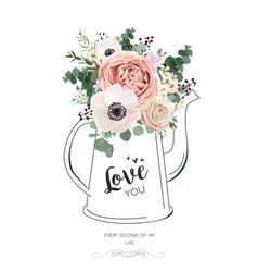 floral card design with lavender pink flowers vector image