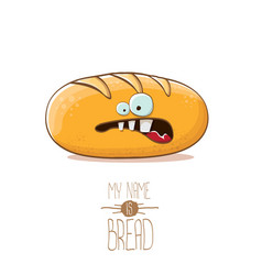 funky cartoon cute white loaf of bread vector image
