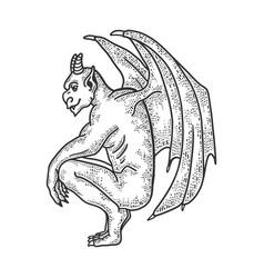 Gargoyle statue sketch vector
