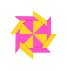 geometric polygonal shape made of paper in origami vector image
