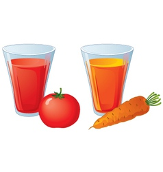 Glasses of carrot and tomato juice vector image