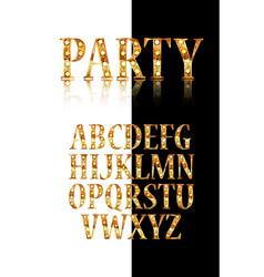 Gold 3d broadway alphabet vector