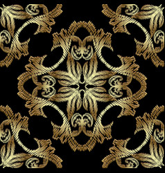 gold embroidery baroque seamless pattern vector image