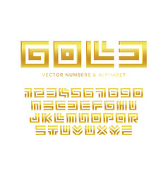 gold letters and numbers set geometric maze vector image