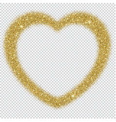 golden glitter frame in the shape of heart with vector image