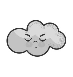 Grayscale kawaii angry cloud icon vector