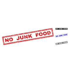 Grunge no junk food scratched rectangle watermarks vector