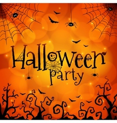 Halloween party orange greeting card vector image
