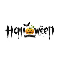 halloween party text design with pumpkin and bat vector image