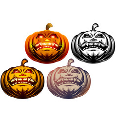 halloween pumpkin cartoon carved eyes mouth icon vector image