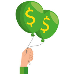 hand with dollars balloons vector image