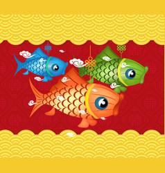 Happy mid autumn festival background carp lantern vector