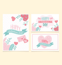 happy valentines day hearts love flowers foliage vector image