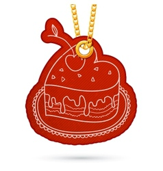 Heart shaped cake label tag hanging on golden vector