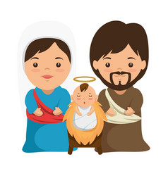 Holy family christmas characters vector