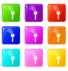 Hotel key set 9 vector