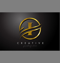 I golden letter logo design with circle swoosh vector