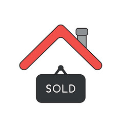 Icon concept sold hanging sign under roof vector