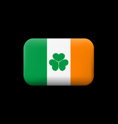 Ireland flag with shamrock matted icon and vector