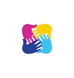 Isolated abstract colorful children hands together vector image