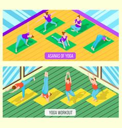 Isometric yoga banners vector