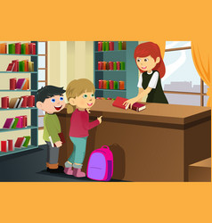 Kids borrowing books in the library vector