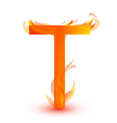 letter t in fire flame icon vector image
