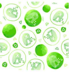 Libra zodiac sign seamless pattern vector