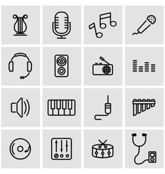 Line music icon set vector