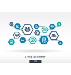 Logistic network Hexagon abstract background vector image