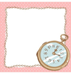 Lovely romantic postcard with ancient pocket watch vector