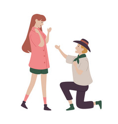 man ask woman for her hand in marriage vector image