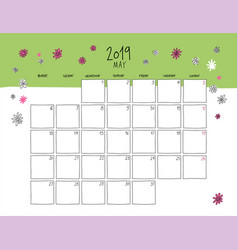 may 2019 wall calendar doodle style vector image