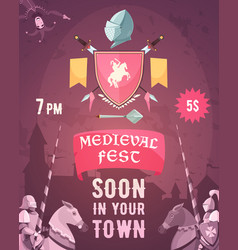Medieval fest announcement cartoon poster vector